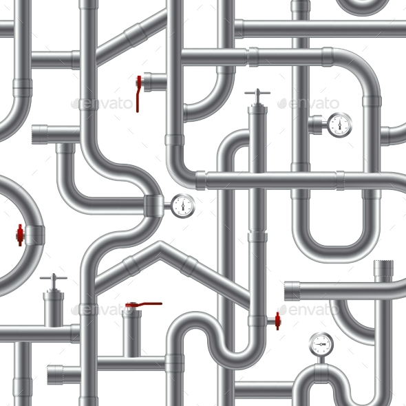 Pipe System Seamless Pattern - Man-made Objects Objects