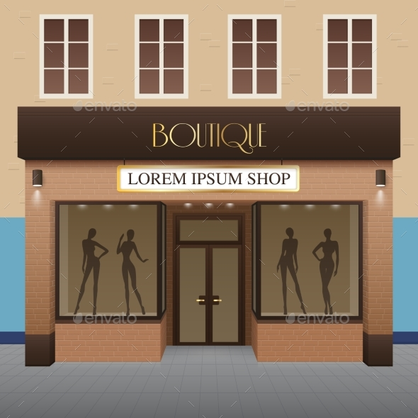 Boutique Building Illustration - Commercial / Shopping Conceptual