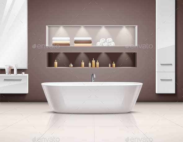 Bathroom Interior Realistic Design - Man-made Objects Objects