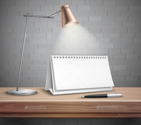 Blank Desk Calendar On Table Concept - Objects Vectors