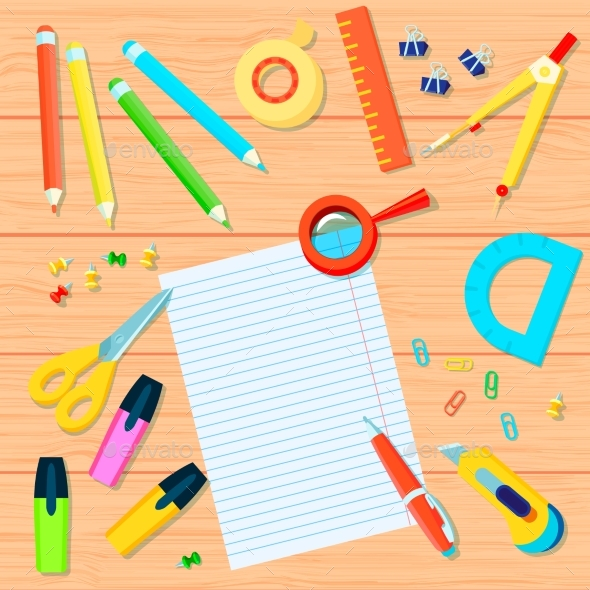 Office Supplies Background - Backgrounds Decorative