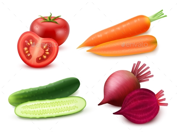 Realistic Vegetables Set - Food Objects
