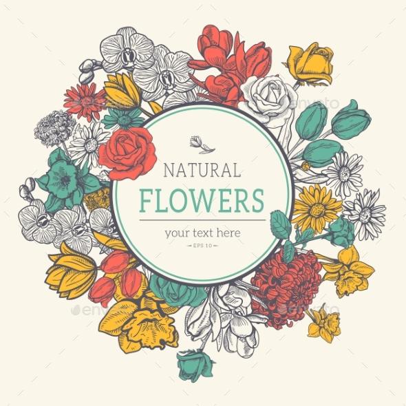 Flower Vintage Styled Sketch Background - Flowers & Plants Nature