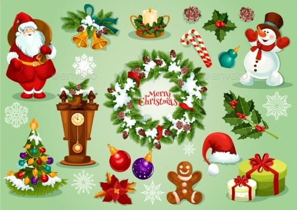 Christmas and New Year Icon Set for Festive Design - Christmas Seasons/Holidays