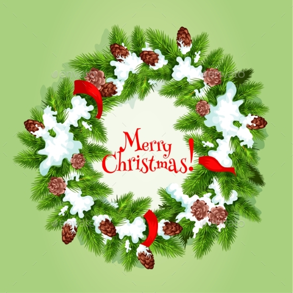 Christmas Tree Wreath with Snow Card Design - Christmas Seasons/Holidays