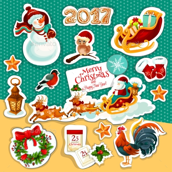 Christmas and New Year Winter Holidays Sticker Set - Christmas Seasons/Holidays