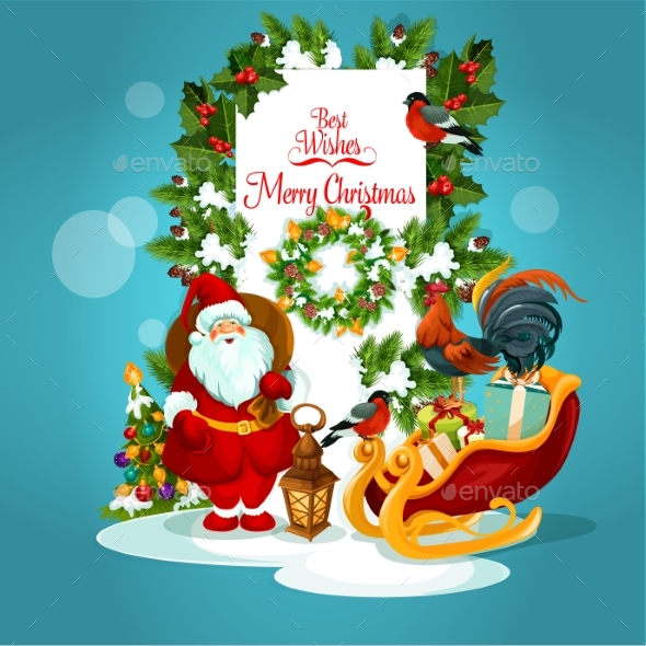 Christmas Greeting Card with Santa and Xmas Tree - Christmas Seasons/Holidays