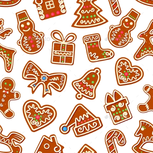 Christmas Gingerbread with Icing Seamless Pattern - Christmas Seasons/Holidays
