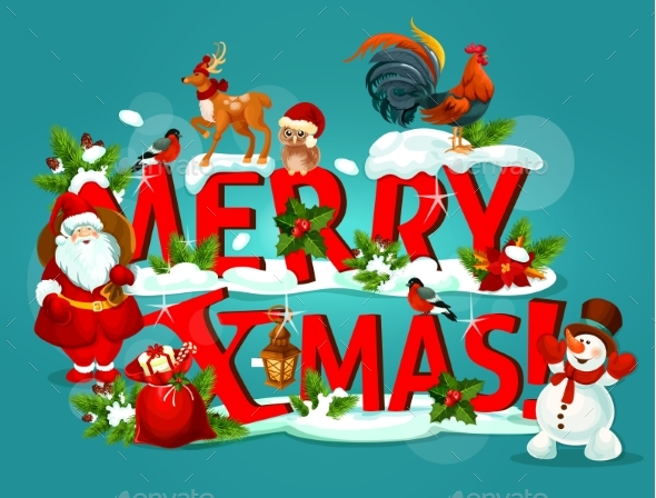 Merry Christmas Poster with Snowy Letter and Santa - Christmas Seasons/Holidays