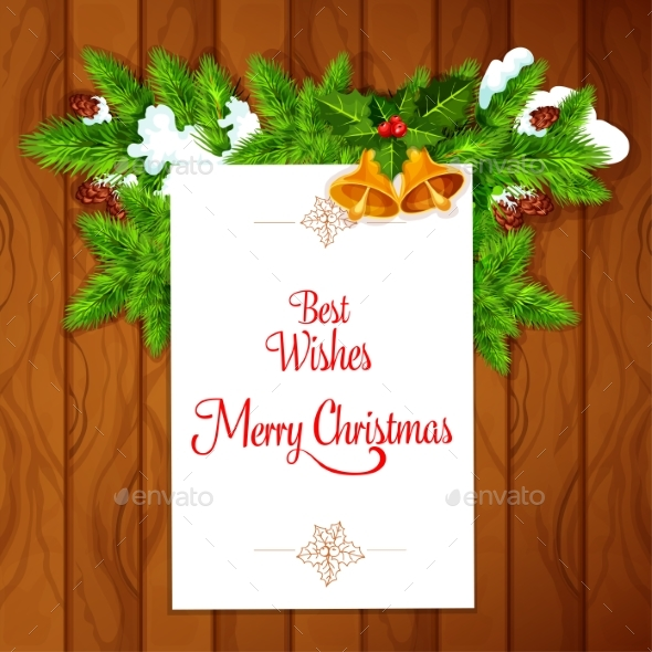Xmas Card with Holly Berry on Wooden Background - Christmas Seasons/Holidays