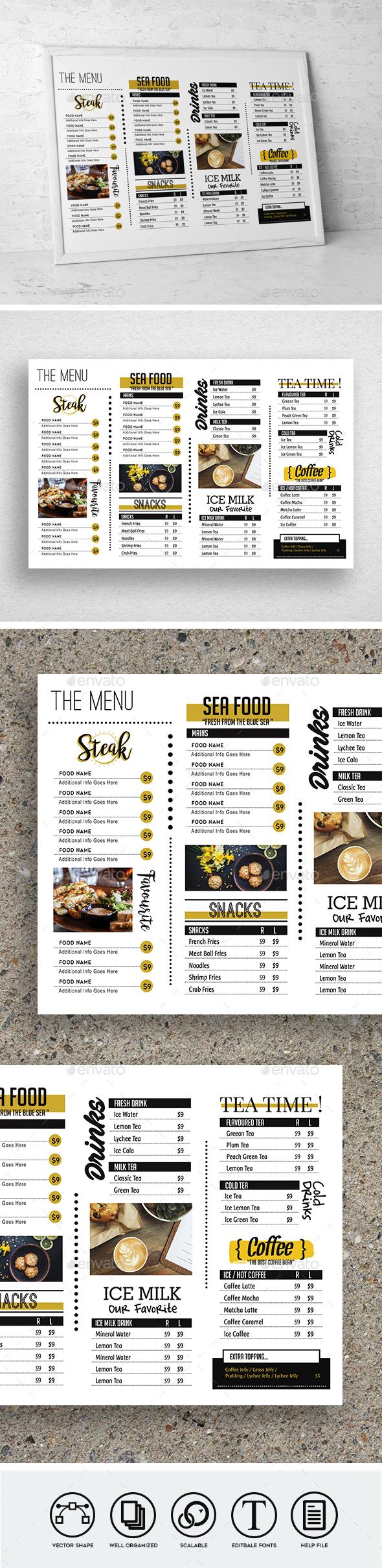 Trendy Food Menu - Food Menus Print Templates