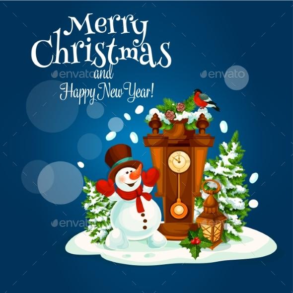 Christmas and New Year Poster with Snowman - Christmas Seasons/Holidays