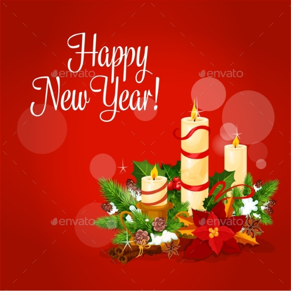New Year and Xmas Card with Candle - New Year Seasons/Holidays