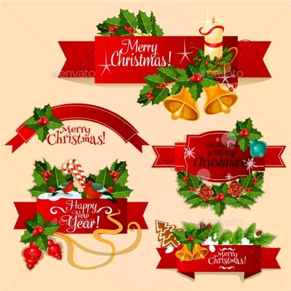 Christmas and New Year Red Ribbon Banner Set - Christmas Seasons/Holidays