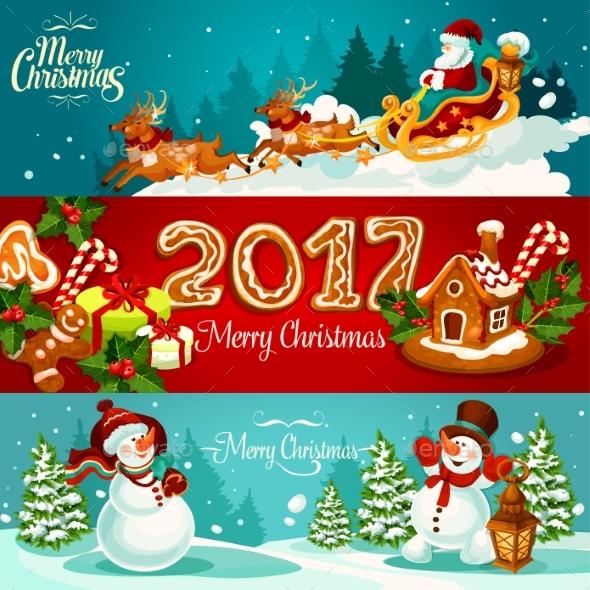 Christmas Banner Set with Gift, Santa and Snowman - Christmas Seasons/Holidays