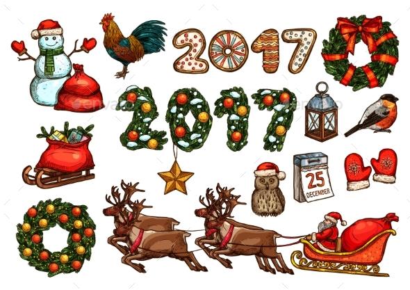 Christmas and New Year Winter Holiday Sketch Set - Christmas Seasons/Holidays