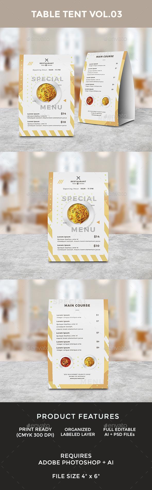 Food Menu Table Tent - Food Menus Print Templates