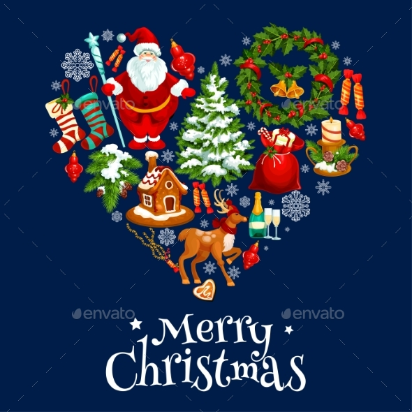 Christmas and New Year Poster in Shape of a Heart - Christmas Seasons/Holidays