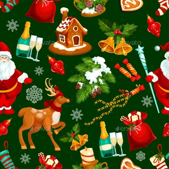 Christmas and New Year Holidays Seamless Pattern - Backgrounds Decorative