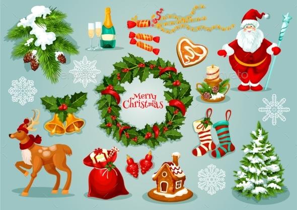 Christmas Day Holidays Celebration Icon Set - Christmas Seasons/Holidays