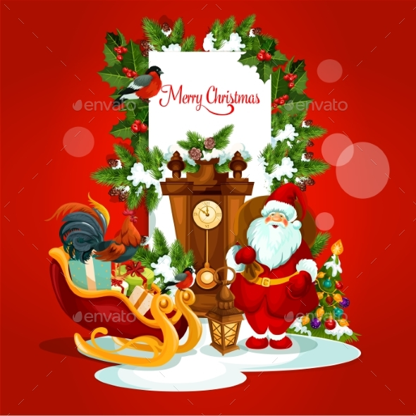 Christmas Greeting Card with Santa and Gift - Christmas Seasons/Holidays