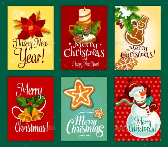 Christmas and New Year Card Set for Holiday Design - Christmas Seasons/Holidays