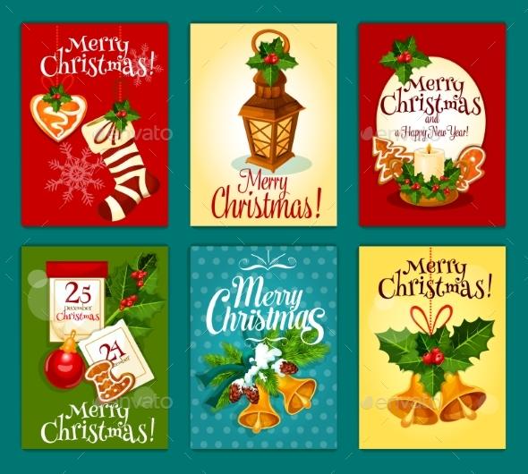 Christmas Card Set For New Year Holidays Design - Christmas Seasons/Holidays