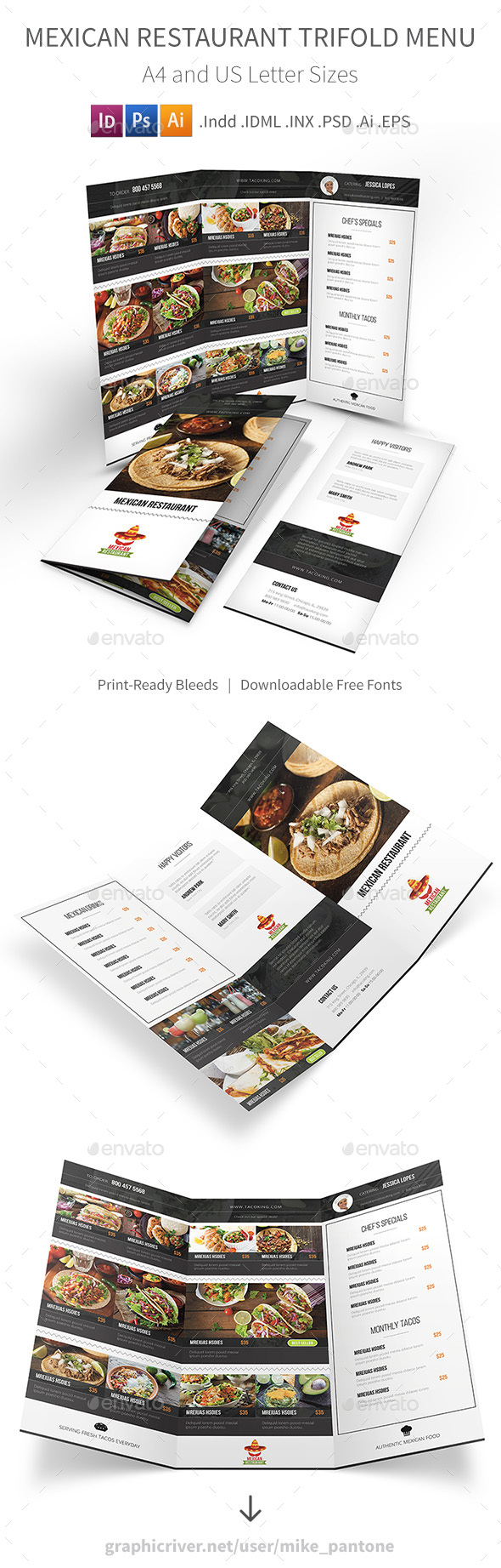 Mexican Restaurant Trifold Menu - Food Menus Print Templates