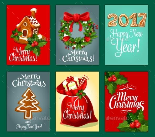 Christmas Gifts Greeting Card Set for Xmas Design - Christmas Seasons/Holidays