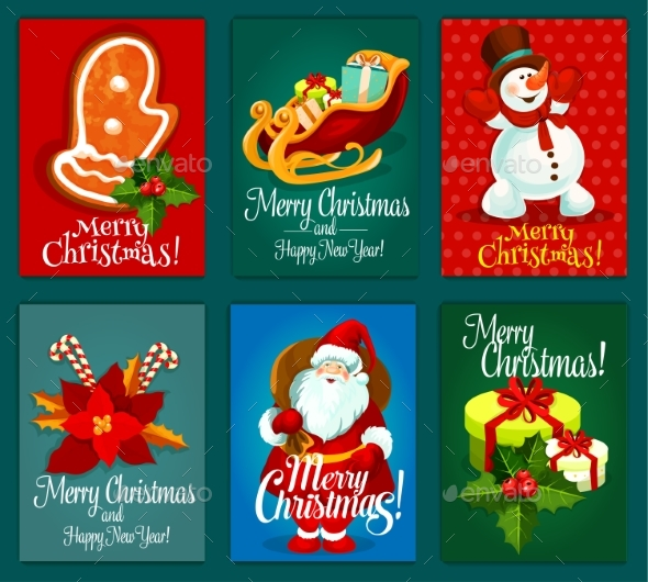 Christmas and New Year Holidays Greeting Card Set - Christmas Seasons/Holidays