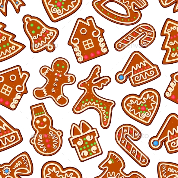 Christmas New Year Gingerbread Seamless Pattern - Christmas Seasons/Holidays