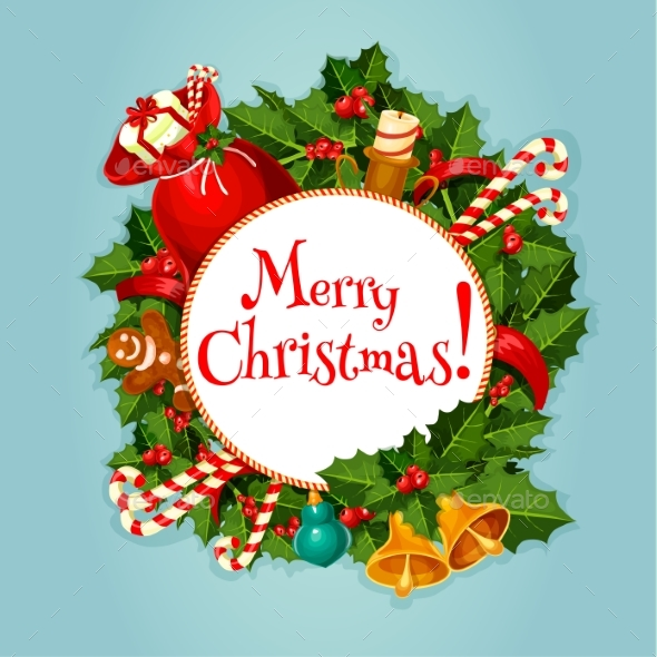 Merry Christmas Greeting Card or Poster Design - Christmas Seasons/Holidays