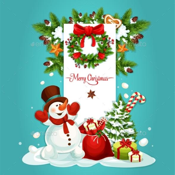Christmas Snowman with Gift Greeting Card Design - Christmas Seasons/Holidays