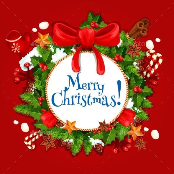 Christmas Day Holiday Poster with Xmas Wreath - Christmas Seasons/Holidays