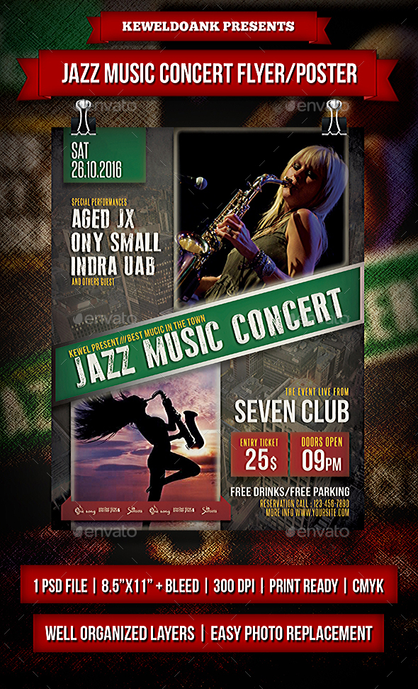 Jazz Music Concert Flyer / Poster - Events Flyers