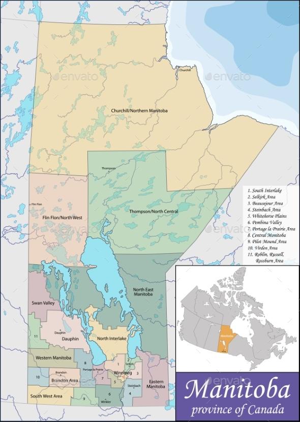 Map of Manitoba - Travel Conceptual