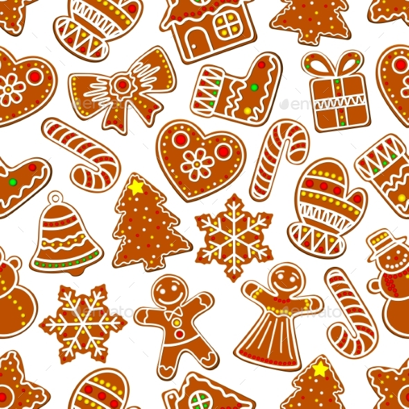 Ginger Cookie Christmas Dessert Seamless Pattern - Christmas Seasons/Holidays