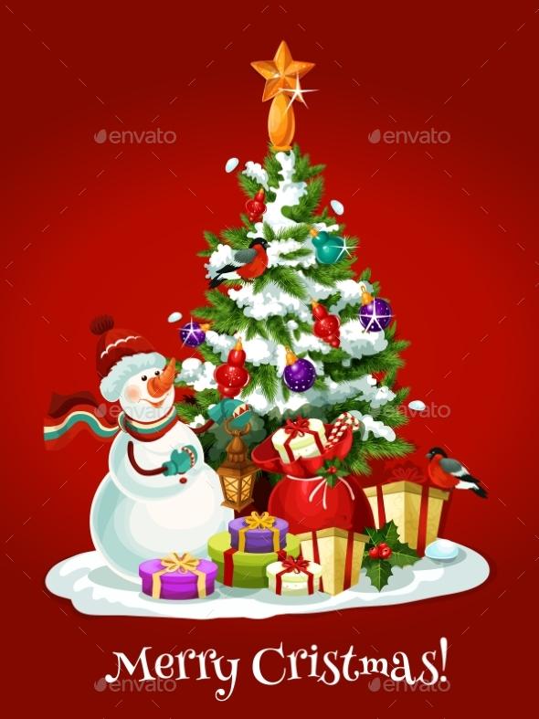 Christmas Holidays Card with Snowman - Christmas Seasons/Holidays