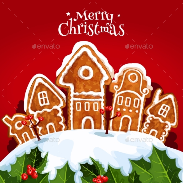 Christmas Street with Gingerbread Home - Christmas Seasons/Holidays