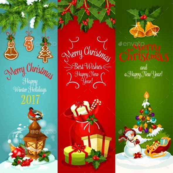 Christmas, New Year Holidays Greeting Banner Set - Christmas Seasons/Holidays