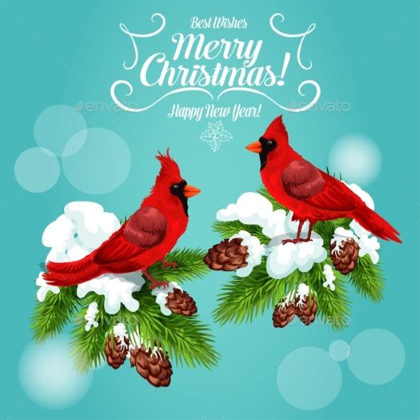 Christmas Card with Cardinal Bird on Pine Tree - Christmas Seasons/Holidays