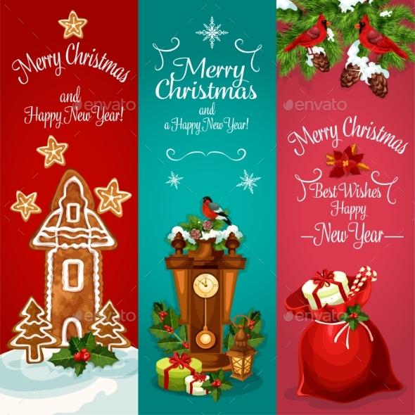 New Year And Christmas Day Holidays Banner Set - Christmas Seasons/Holidays