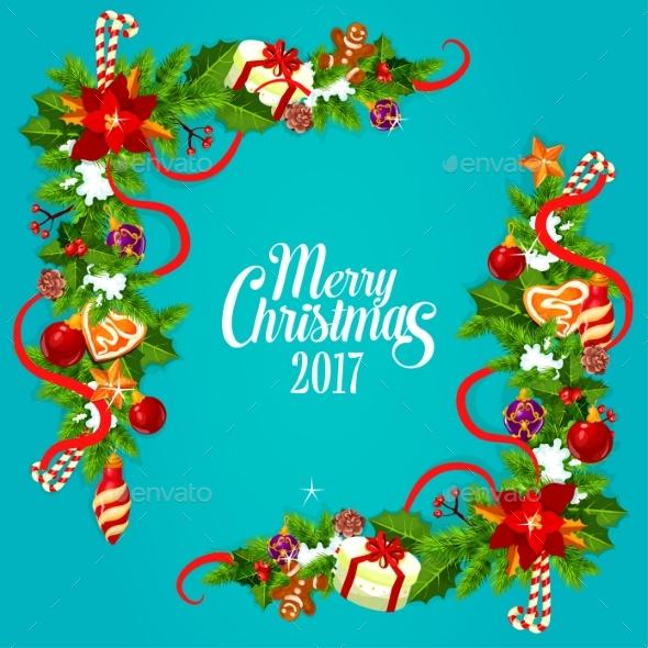 Christmas Card with Holly and Pine Garland Corner - Christmas Seasons/Holidays