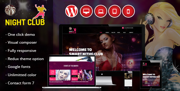 Night Club – One Page WordPress Theme For Parties