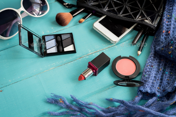 make up with cosmetics and brushes on wooden background - Stock Photo - Images