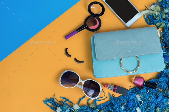 Fashion woman essentials, cosmetics, makeup accessories - Stock Photo - Images