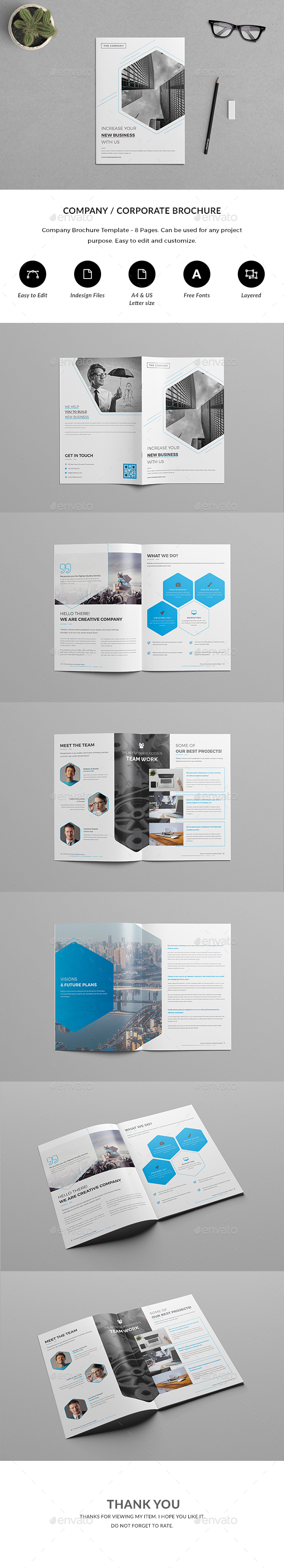 Page CompanyCorporate Brochure By Nashoaib GraphicRiver - 8 page brochure template