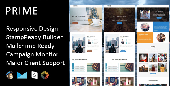 Image of Prime - Multipurpose Responsive Email Template + Stampready Builder