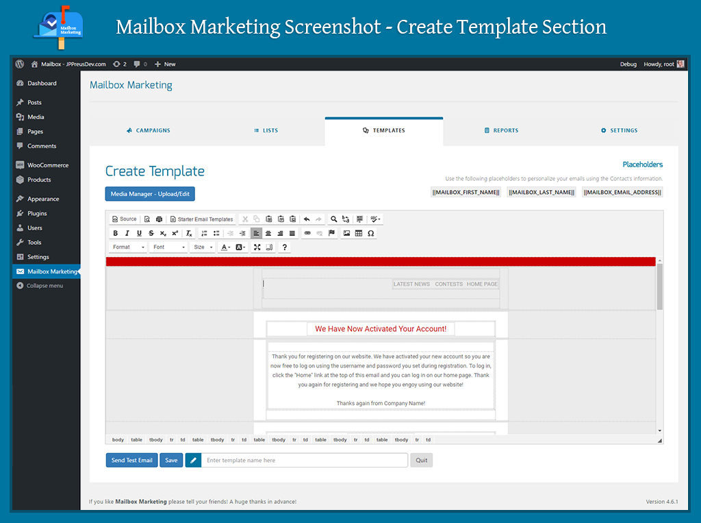 Mailbox marketing email newsletter marketing plugin for Create new template in wordpress