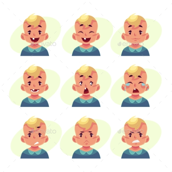 Set of Blond Baby Boy Avatars - People Characters